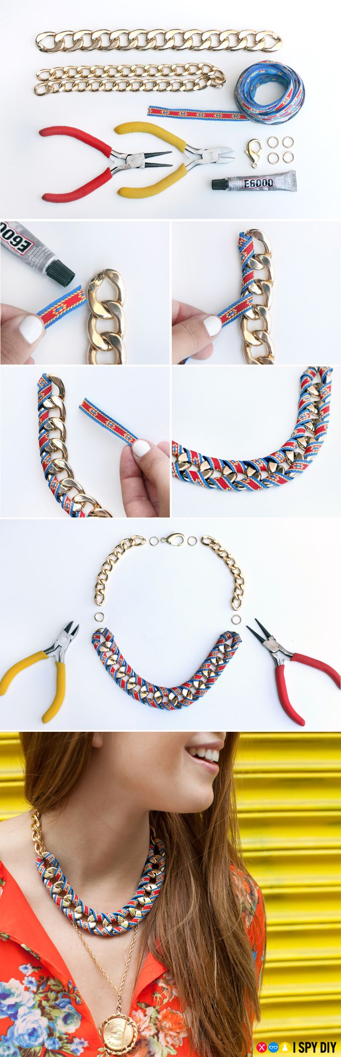 DIY Chain Ribbon Necklace