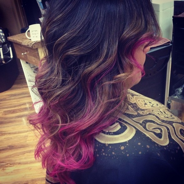 Dark Hair with Brown and Pink Colors