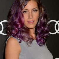 Dawn Olivieri Medium Purple Curly Hairstyle for Women