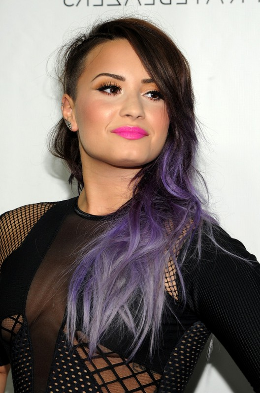 Demi Lovato Side Swept Brown To Purple Ombre Hair For Long Hair
