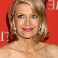 Diane Sawyer Short Side Parted Hairstyle for Women Over 50