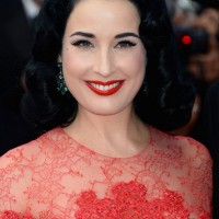 Dita Von Teese Medium Black WAvy Hair Style