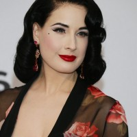 Dita Von Teese Retro Glam Medium Black Curly Hairstyle