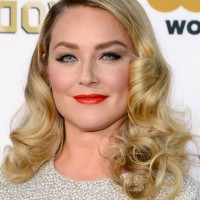 Elisabeth Rohm Medium Blonde Wavy Curly Hairstyle for Wedding