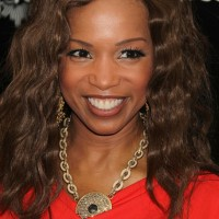 Elise Neal Medium Brown Wavy Curly Hair Style for Black Women