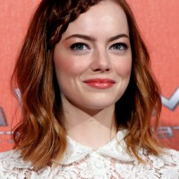 Emma Stone Boho Chic Braided Shoulder Length Brunette Hairstyle with Waves