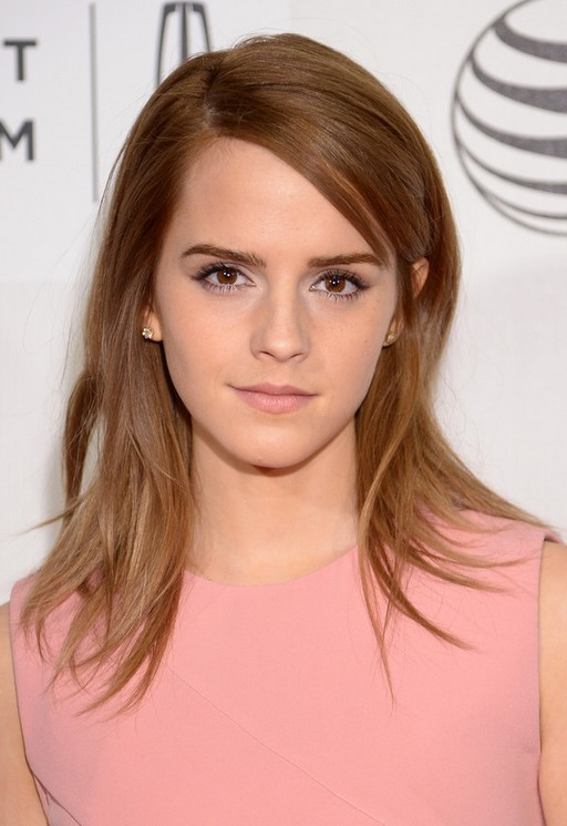 Emma Watson Latest Cute Layered Mid Length Straight
