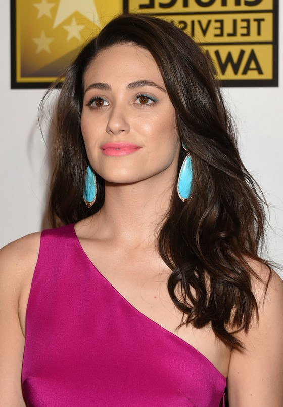 Emmy Rossum Dark Brown Long Wavy Hairstyle For One