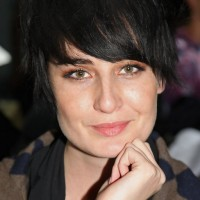 Erin O'Connor Short Straight Black Hairstyle with Side Swept Bangs