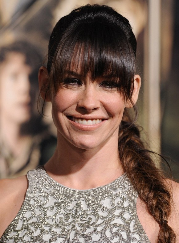 Evangeline Lilly Fishtail Braid With Blunt Bangs Styles