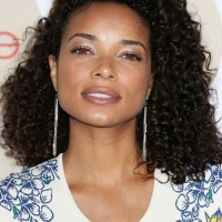 Female Celebrity Medium Dark Curly Hairstyle from Rochelle Aytes