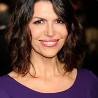 Finola Hughes Simple Casial Medium Dark to Brown Ombre Hair Style
