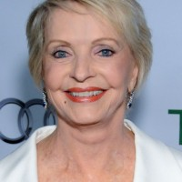 Florence Henderson Side Parted Short Haircut with Bangs for Women Over 70
