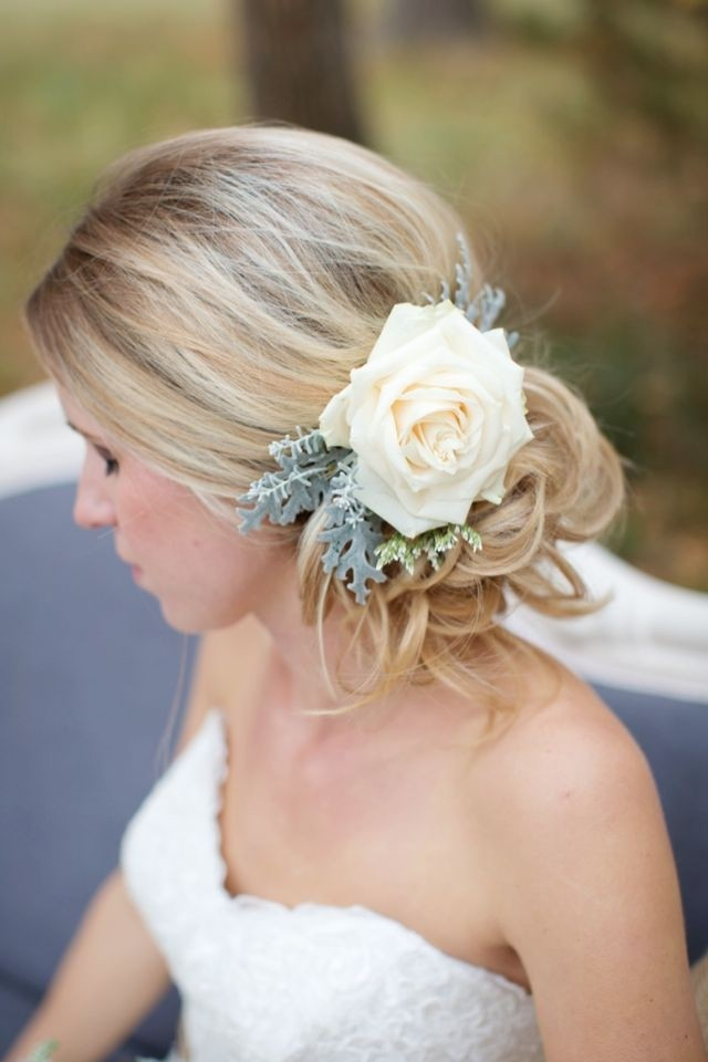 Flower In The Bride S Hair Updo Hairstyles For Brides