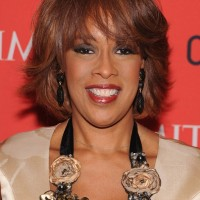 Gayle King Layered Short Bob Hairstyle with Bangs for Thick Hair