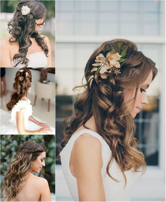 Half Up and Half Down Hairstyle with Brown Wavy Hair: Long Hairstyles for Brides