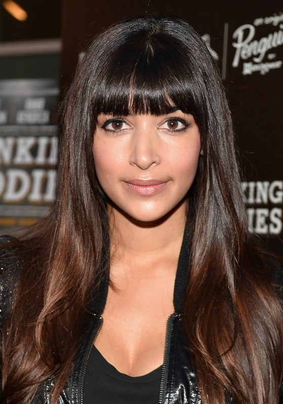 Hannah Simone Casual Black To Brown Ombre Hair For Long Straight