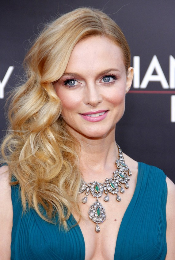 Heather Graham Long Blonde Side Parted Curly Hairstyle For