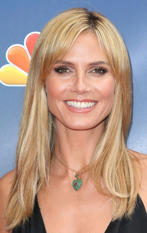 Heidi Klum Latest Hairstyle Long Blonde Straight Haircut