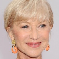 Helen Mirren Short Blonde Haircut with Bangs for Women Over 70