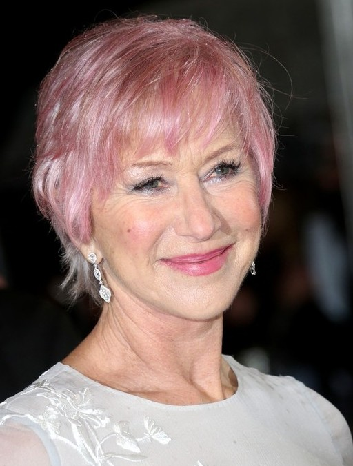 Helen Mirren Short Pink Haircut with Bangs for Women Over 70Short Pink Haircut with Bangs for Women Over 70