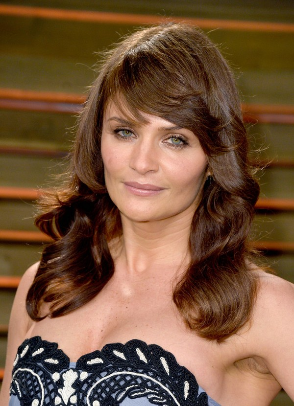 Helena Christensen Layered Long Brown Wavy Hairstyle With Bangs For