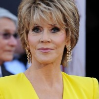 Jane Fonda Short Layered Razor Hairstyle for Women Over 60
