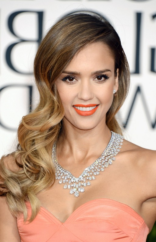 Jessica Alba Curly Ombre Hairstyle For Long Hair Styles Weekly