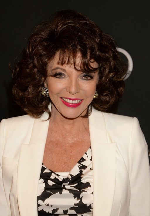 Joan Collins Medium Brown Curly Hairstyle With Bangs For Older Women Over 70