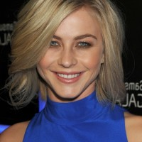 Julianne Hough Layered Side Parted Short Haircut with Long Bangs
