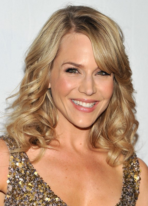 Sensational Julie Benz Shoulder Length Curly Hairstyle With Side Swept Bangs Short Hairstyles Gunalazisus