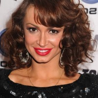 Karina Smirnoff Brown Curly Hairstyle for Shoulder Length Hair