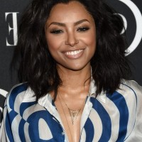 Kat Graham Edgy Medium Black Wavy Hairstyle