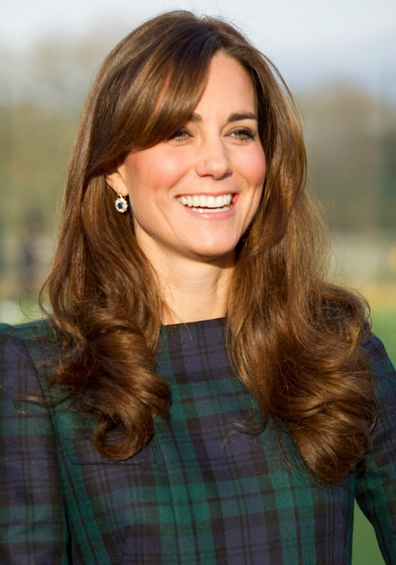 Kate Middleton Long Brunette Wavy Curly Hairstyle With