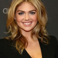 Kate Upton Layered Medium WAvy Hairstyle for Work