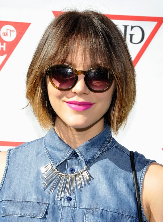 Katharine Mcphee Choppy Short Ombre Bob Cut With Wispy Bangs