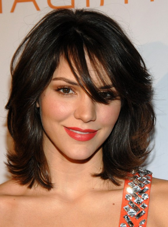 Katharine McPhee Layered Shaggy Shoulder Length Haircut for Thick ...
