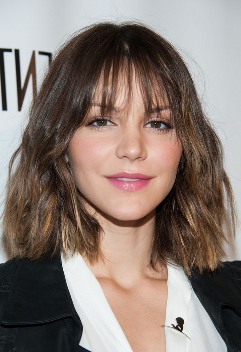 Katharine Mcphee Trendy Edgy Short Wavy Ombre Hairstyle With Bangs