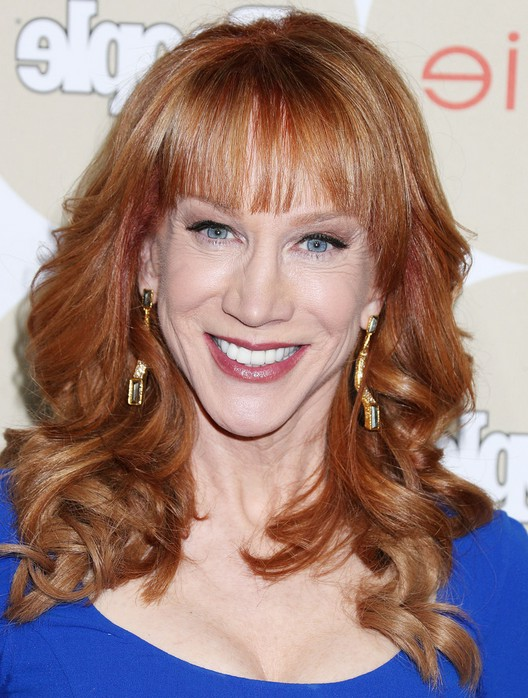 kathy griffin feminine long curly hairstyle with bangs for women