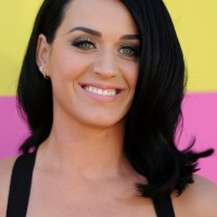 Katy Perry Medium Black Wavy Hairstyle