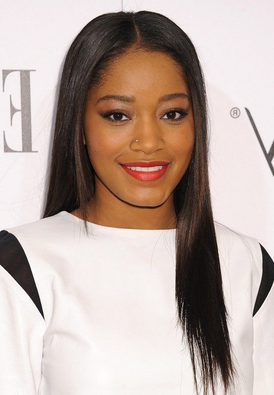 Keke Palmer Latest Center Parting Sleek Straight Black Hairstyle for ...