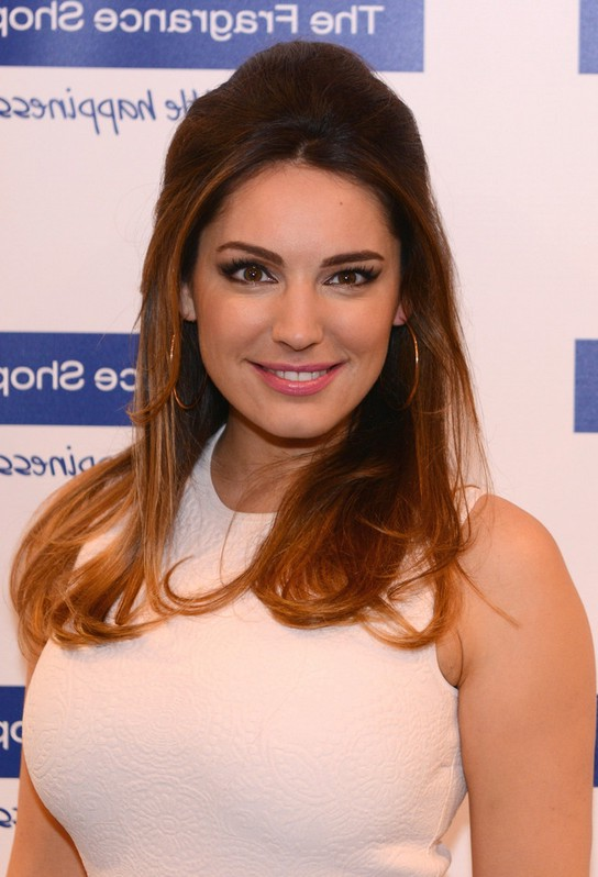 kelly brook ombre half up half down hairstyle for medium