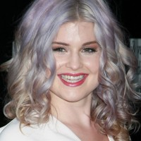 Kelly Osbourne Medium Purple Curly Hair Style