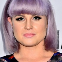 Kelly Osbourne Short Purple Bob Haircut with Full Blunt Bangs