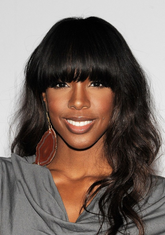 Kelly Rowland Long Black Curly Hairstyle with Long Blunt ...