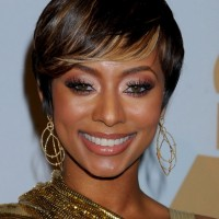 Keri Hilson Cute Short Side Parted Haircut with Bangs for Black Women