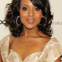 Kerry Washington Soft Wavy Curly Hairstyle with Side Swept Bangs