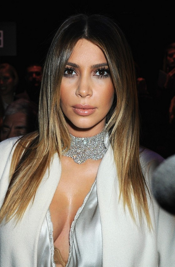 Kim Kardashian Latest Layered Dark To Blonde Ombre Hair