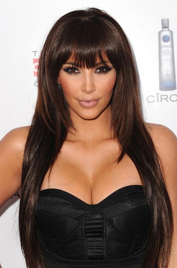 kim kardashian sexy layered long brunette straight
