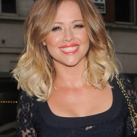 Kimberley Walsh Medium Brown to Blonde Curly Hairstyle